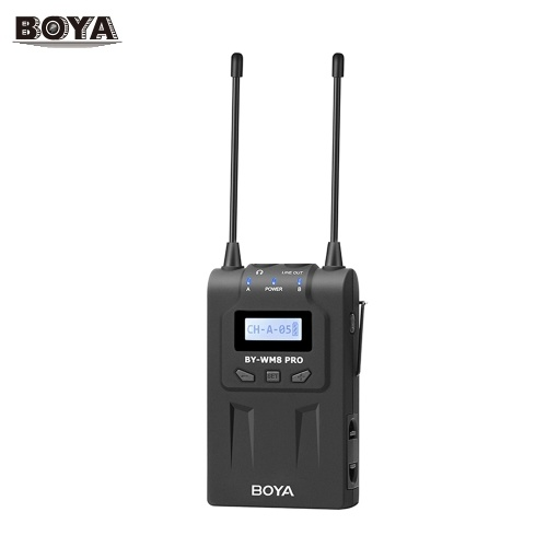 BOYA UHF Dual-Channel 48 Channels Receiver with LCD Display Compatible for BOYA BY-WHM8 Pro Wireless Handheld Microphone/BY-WXLR8 Pro Transmitter/BY-WM8 Pro-K1 & BY-WM8 Pro-K2 Wireless Microphone System