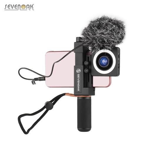 Комплект видеокарты для смартфона Sevenoak с рукояткой для микрофона Стабилизаторная рукоятка Крепление для штатива Светодиодные кольцевые линзы Чехол для хранения ветрового стекла для видеопроизводителя Киносъемка Видеосъемка Видеоблог для iPhone XR / 8/7/6 / 6s / 6 Plus / 6s Plus и большинства Samsung Huawei и т. Д.
