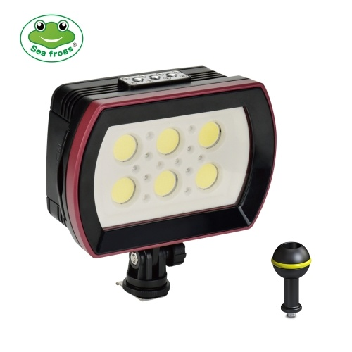 Sea frogs SL-22 LED Diving Light Underwater Photography Fill-in Lamp 6pcs LEDs Aluminum Alloy 40M Waterproof IPX8 with White(Strong-Low-SOS)/ Red/ Blue Lights Max. 6000LM