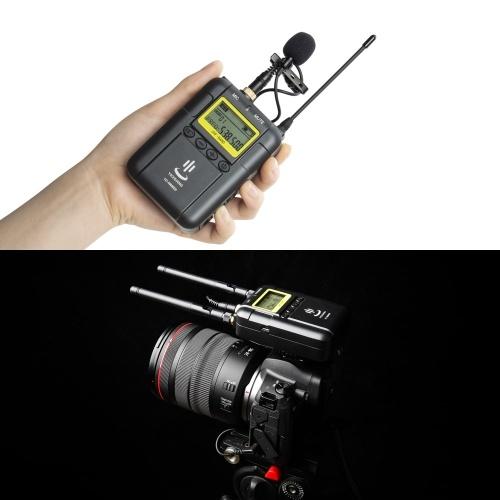 Профессиональная беспроводная микрофонная система видеозаписи (2 * передатчик + 1 * приемник) Поддержка двухканальной функции низких частот УВЧ с петличным отворотом микрофона Микрофон с ЖК-дисплеем для Canon Nikon Sony iPhone 6 Камеры Huawei DSLR DV Инте