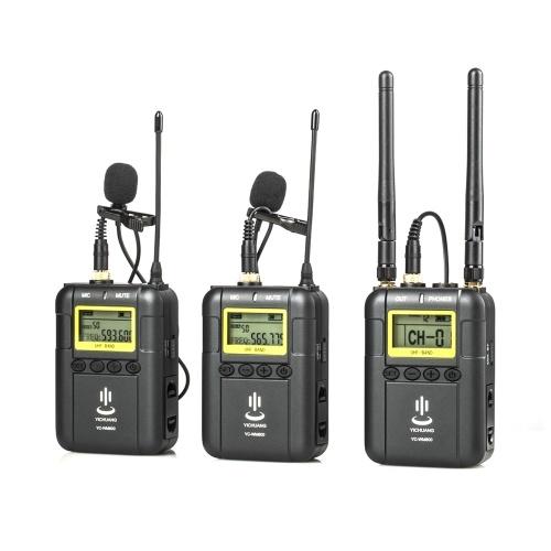 Sistema de micrófono de grabación de video inalámbrico profesional (2 * Transmisor + 1 * Receptor) Compatible con función de corte bajo UHF de doble canal con micrófono de solapa lavalier Micrófono con pantalla LCD para Canon Nikon Sony iPhone 6 Cámaras DSLR DV de Huawei Entrevista Grabación de sonido