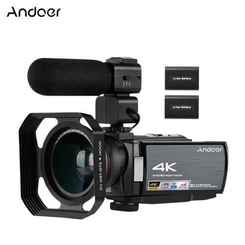 Andoer HDV-AE8 4K WiFi Digital Video Camera Camcorder DV Recorder 30MP 16X Digital Zoom IR Night Vision 3 Inch IPS LCD Touchscreen with 2pcs Rechargeable Batteries + Extra 0.39X Wide Angle Lens + External Microphone +  Lens Hood