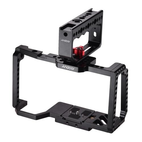 Andoer-Kamerakäfig mit Griffgriff-Videofilm zur Herstellung einer kalten Schuhhalterung 1/4 Zoll 3/8 Zoll Schraubenlöcher Schnellwechselplatte Kompatibel mit Blackmagic Pocket Cinema-Kamera 4K / 6K BMPCC 4K 6K