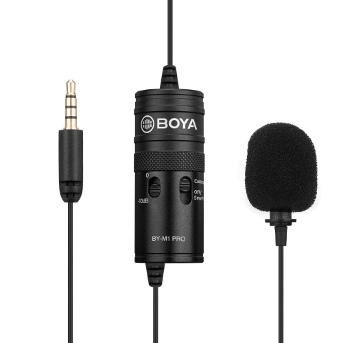 BOYA BY-M1 Pro Omni-Directional Lavalier Microphone Single Head Clip-on Condenser Mic