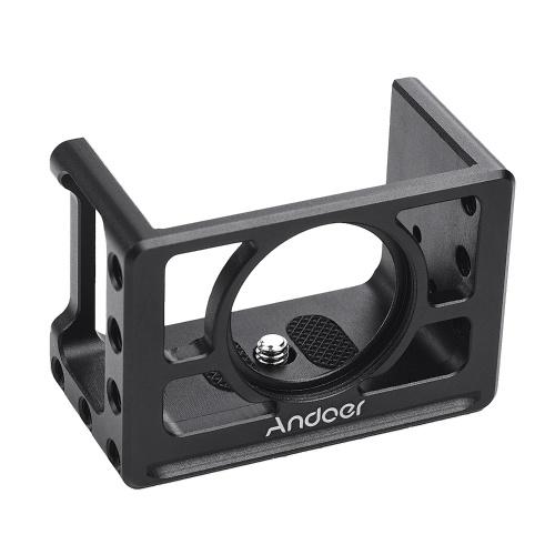 Andoer Metallkamera Cage Mount Schutzhülle mit 1/4 Zoll Schrauben Kaltschuh Kompatibel mit SONY RX100 VI VII Kameras