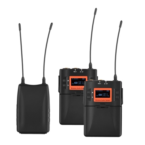 Wireless Lavalier Microphone System UHF 60-channels Dual Transmitters One Receiver