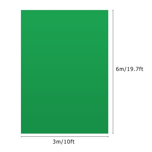 Andoer 3 * 6m / 10 * 19.7ft Professional Green Screen Backdrop Studio Photography Background Washable Durable Polyester-Cotton Fabric Seamless One-Piece Design for Portrait   Product Shooting