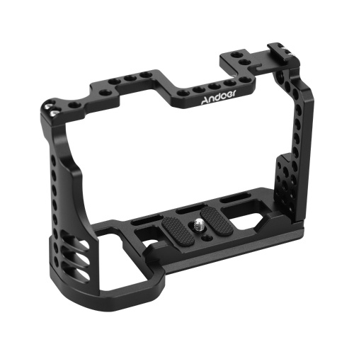 Andoer Aluminum Alloy Video Camera Cage with Cold Shoe Mount 1/4 Inch & 3/8 Inch Screw Holes Compatible with Sony A7R4 A7R IV