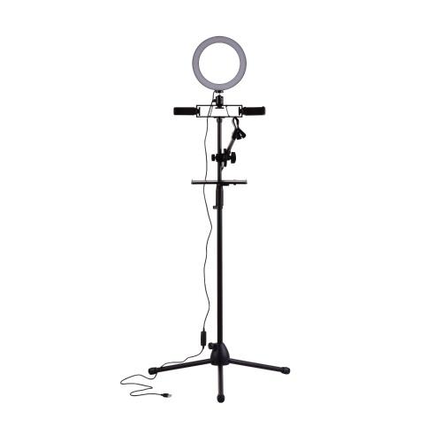 Kit d'éclairage annulaire LED 20 cm / 8 pouces avec support de trépied en métal + bras de flèche de microphone + clip micro + supports de téléphone doubles + plateau métallique à pince pour carte son