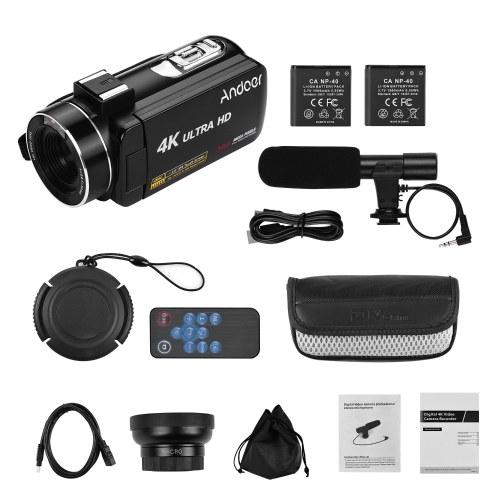 Andoer 4K Ultra HDハンドヘルドDVプロフェッショナルデジタルビデオカメラCMOSセンサービデオカメラ