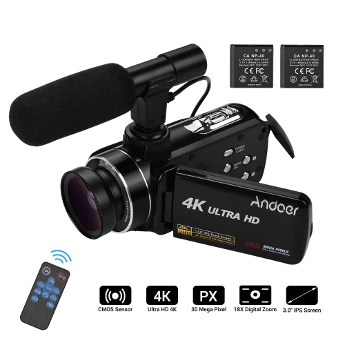 Andoer 4K Ultra HD Handheld DV Professional Digital Video Camera CMOS Sensor Camcorder with 0.45X Wide Angle Lens with Macro Stereo On-Camera Microphone Hot Shoe Mount 3.0 Inch IPS Monitor Burst Shooting Anti-Shaking Function