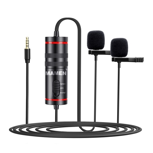 MAMEN KM-D1 Pro Microphone cravate 3,5 mm avec double micros Omni-directional Sound Pickup Adaptateur audio 6,35 mm