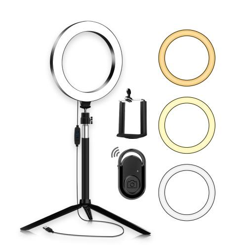 docooler Portable 20cm / 8 Inch Diammable 3200K-5500K Bi-Color Ring Video Light 3pcs Lighting Modes