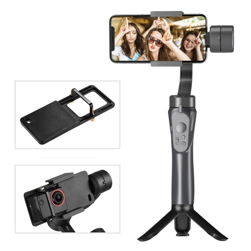 Andoer 3-Axis Handheld Gimbal Smartphone Stabilizer Built-in Lithium Battery with Mini Tripod Stand Sports Camera Adapter Plate Compatible with iPhone Samsung Huawei Xiaomi Smartphones Compatible with GoPro 4/5/6/7