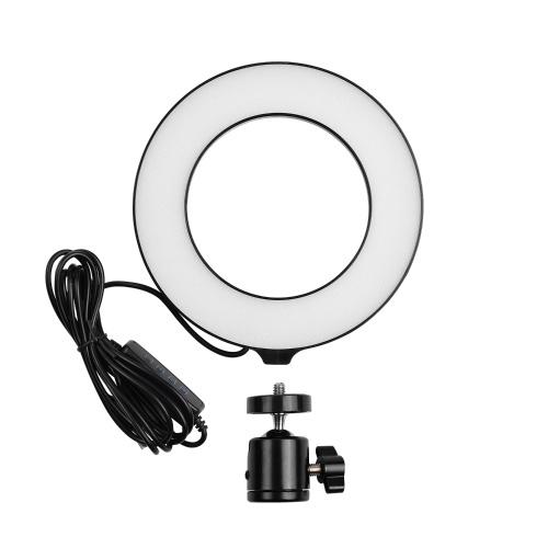 16cm/6inch Mini LED Ring Light Fill-in Lamp USB Powered 3 Lighting Modes 11 Levels Adjustable Brightness