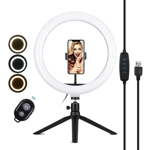 Andoer 10 Inch LED Ring Light Photography Fill-in Lamp 3 Lighting Modes Dimmable USB Powered with Phone Holder Ballhead Adapter Mini Desktop Tripod   Remote Shutter for Live Streaming Video Recording Network Broadcast Selfie Makeup