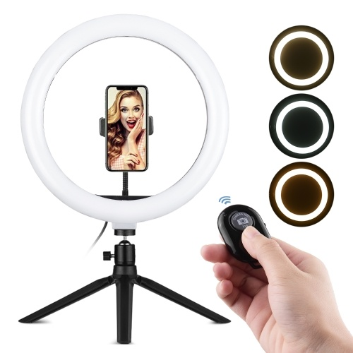 Andoer 10 pouces LED Ring Light Photographie Lampe d'appoint 3 modes d'éclairage Dimmable USB Powered