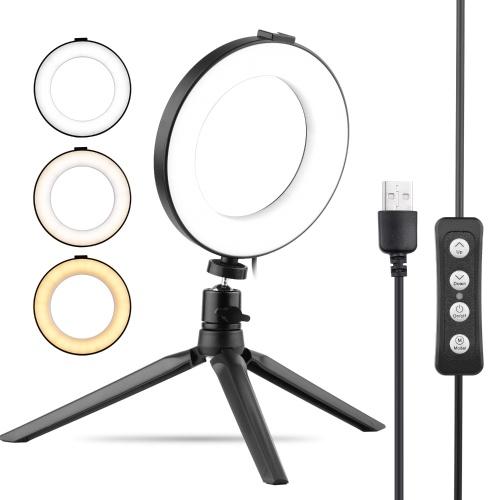 6 modes d'éclairage de la lumière LED de Selfie Beauty LED de lumière d'anneau d'USB de pouce 3 dimmable