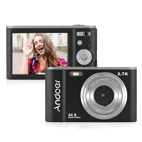 Mini cámara digital Andoer 44MP 2.7K 2.88 pulgadas Pantalla IPS 16X Zoom Autodisparador 128GB Memoria extendida Detección facial Antivibración