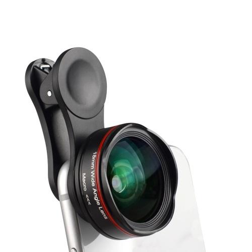 Obiettivo per fotocamera per smartphone 5K Ultra HD 18mm 128 ° Obiettivo per telefono macro 15X grandangolare senza distorsioni con clip universale