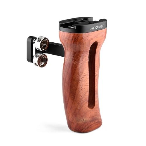 Andoer Universal Camera Cage Poignée en bois Poignée latérale gauche / droite