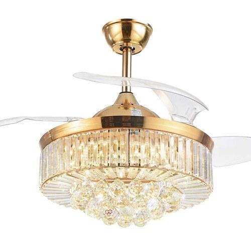 AC200-240V Y42-A099FJ 42 Inches Crystal Ceiling Fan Light LED Ceiling Light