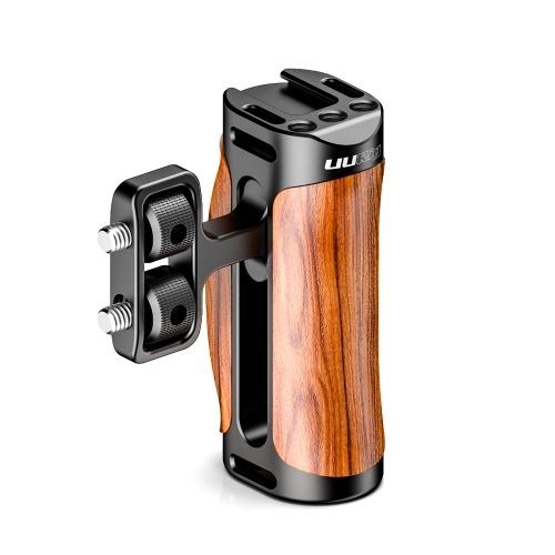 UURig Camera Cage Grip Griff aus Holz mit kaltem Schuh 1/4 Montage Schultergurtloch