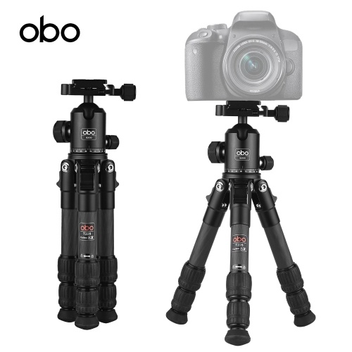 OBO T228 Mini Carbon Fiber Tripod + B300 Rotatable Panoramic Ball Head with Quick Release Plate, TOMTOP  - buy with discount