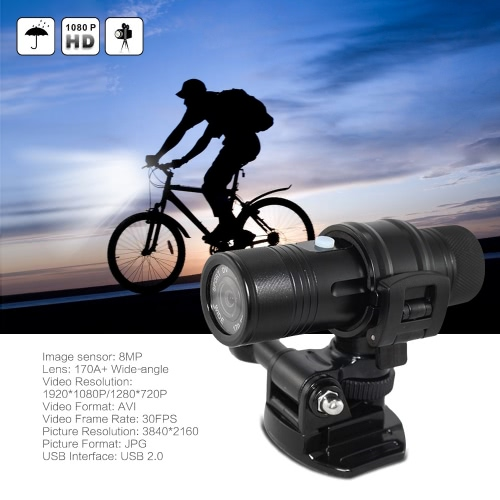 Sports Camera HD 1080P 30FPS 8MP 170A+ Wide-angle Lens DVR Helmet Action Camera Camcorder Car DVR PC