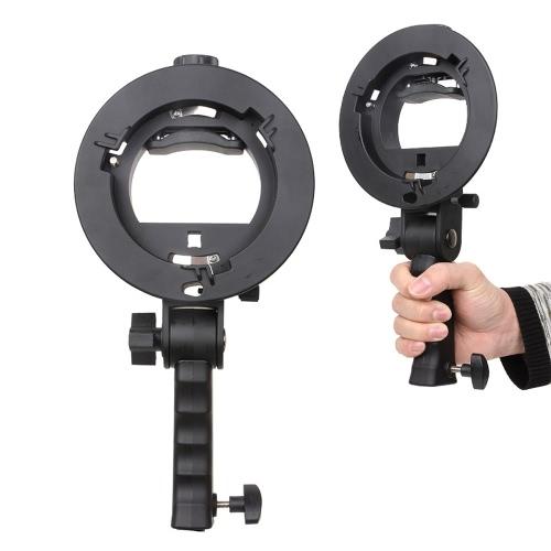 S-förmige Handheld Grip Portable Bowens Mount Speedlight Halterung für Taschenlampe Softbox Unterstützung reflektierend Regenschirm und anderen Fotografie-Studio-Zubehör