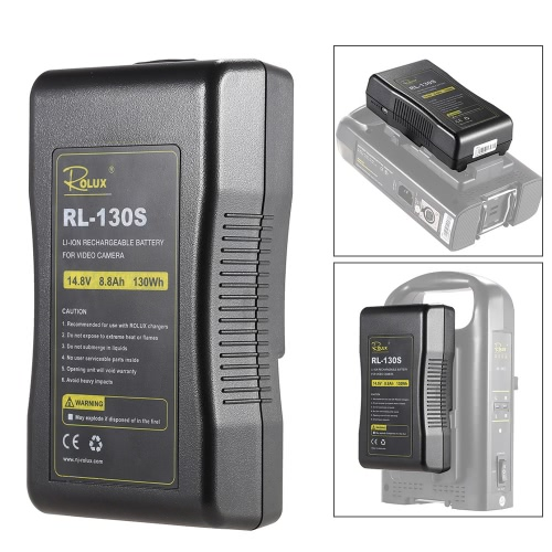 ROLUX RL-130S Broadcast Quality V Mount Li-ion Battery Pack 14.4V 130Wh Rechargeable Battery for Professional Video Camera