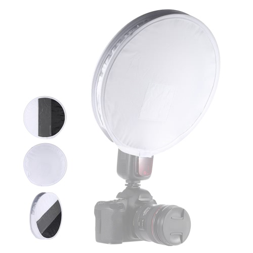 Multifunctional 12in/31cm Mini Portable Round On-camera Flash Speedlite Diffuser Softbox with White/Grey/Black Color for Canon Nikon Sigma Yongnuo Godox Andoer Neewer Vivitar Speedlight
