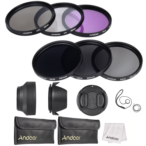 Andoer 55mm Lens Filter Kit UV+CPL+FLD+ND(ND2 ND4 ND8) with Carry Pouch / Lens Cap / Lens Cap Holder / Tulip & Rubber Lens Hoods / Cleaning Cloth