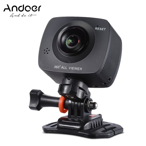 Andoer Dual-lens 360 Degree Panoramic Digital Video Sports Action VR Camera 1920 * 960P 30fps HD 8MP with 220 Degree Fish Eyes Lens