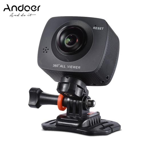Andoer double lentille 360 degrés panoramique Sport Digital Video action VR Caméra 1920 * 960P 30fps HD 8MP avec 220 Degree Fish Eyes Objectif