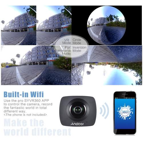 Andoer Dual-lens 360 Degree Panoramic Digital Video Sports Action VR Camera  1920 * 960P 30fps HD 8MP with 220 Degree Fish Eyes Lens - Andoer com