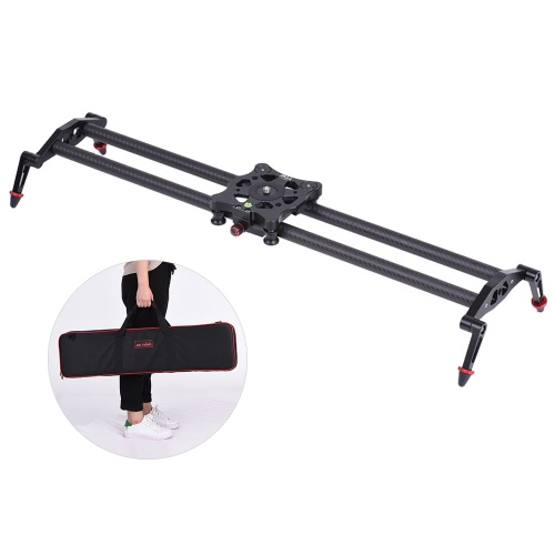80cm/2.6ft Carbon Fiber Track Dolly Slider Rail Stabilization System with 5kg/11.0lbs Load Capacity for Video Movie Film Shooting for Canon Nikon Sony DSLR Cameras Camcorders