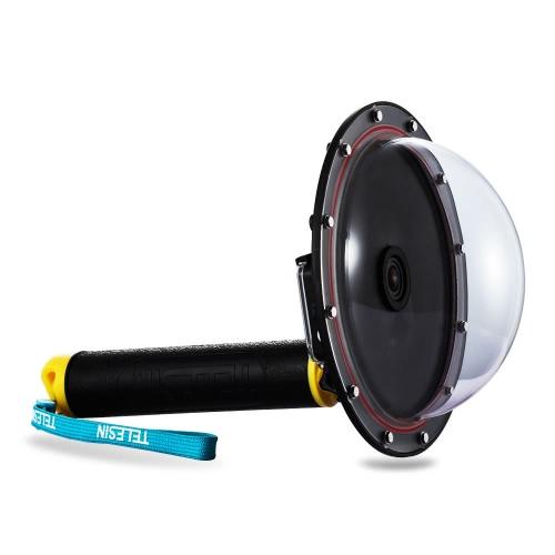 TELESIN Upgrade Erweiterte Aluminiumlegierung Dome Port Zubehör für Gopro Hero 4/3 + / 3 Tauchen Kamera Sport Action Cam Unterwasser Fotografie Wasserdicht 30 Mt mit Floaty Grip