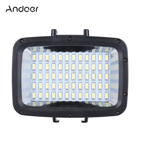 Andoer Ultra Bright 1800lm 3 Modes étanches sous-marine 40m 5500K 60pcs LED Plongée Fill-in Light Video Studio Photo Lamp for GoPro Hero Xiaomi Yi SJCAM action Cam & pour Canon Nikon Sony DSLR w / Hot Shoe Mont + 3 * Filtre