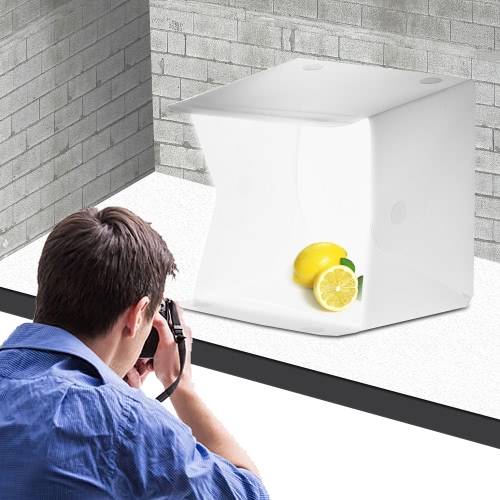 WOODY Folding Portable Mini LED Photography Studio Light Tent Box with Backdrop for DSLR Camera Smartphone