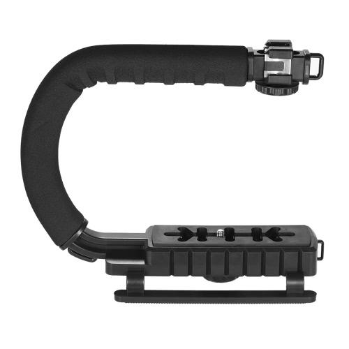 3靴マウントU / C形ブラケットホルダーハンドルiPhone 7 Plus 6s用ハンドヘルドビデオアクションスタビライザーグリップCanon Nikon Sony DSLRカメラビデオカメラ用