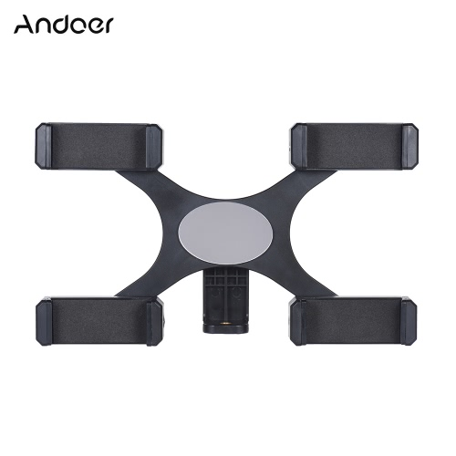 "Andoer Smartphone Live Broadcast Bracket avec 4pcs Phone Holders Clips 1/4 ""Screw Hole Make-up Mirror pour iPhone 7/7 Plus / 6/6 Plus / 6s"