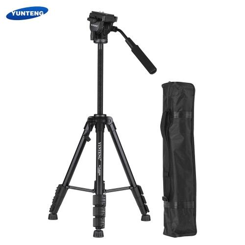 YUNTENG VCT-691 Profesjonalny, przenośny aluminiowy statyw wideo Statyw 4-częściowy z głowicą uchylno-obrotową do aparatów Canon Nikon Sony Pentax DSLR Kamera cyfrowa ILDC Maksymalna pojemność 3 kg
