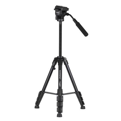 YUNTENG VCT-691 Trépied professionnel en alliage d'aluminium portable Trépied 4 sections avec tête de fluide et tête inclinable pour Canon Nikon Sony Pentax DSLR Caméra ILDC Caméscope DV Capacité de charge maximale 3kg