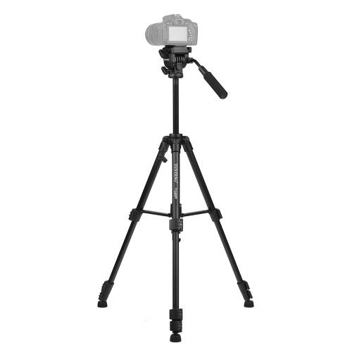 YUNTENG VCT-691 Professional Portable Aluminum Alloy Video Tripod 4-Section Camera Tripod with Fluid Pan & Tilt Head for Canon Nikon Sony Pentax DSLR ILDC Camera DV Camcorder Max Load Capacity 3kg