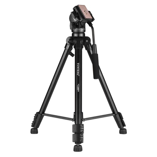 YUNTENG VCT-880 Portable Aluminum Alloy Tripod 3-Section Telescoping with 2-Way Damping Ball Head for Canon Nikon Sony DSLR Camera Camcorder Max Load Capacity 5kg