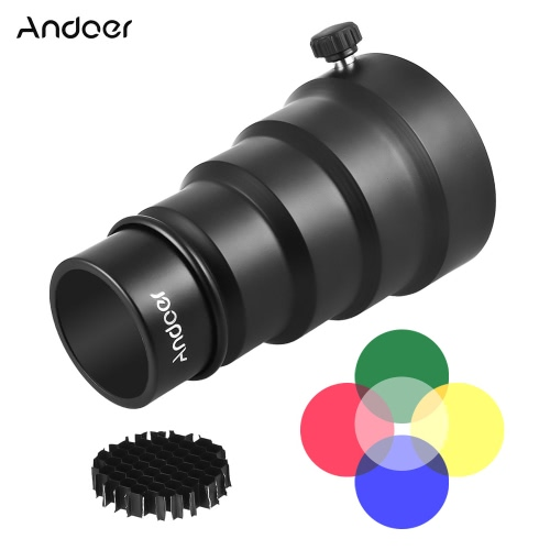 Andoer 98mm Mini Flash Mount Metal Snoot with Honeycomb Grid 5pcs Color Filter Kit for Neewer Andoer Godox 180W 250W 300W Mini Studio Strobe Monolight Photography Flash