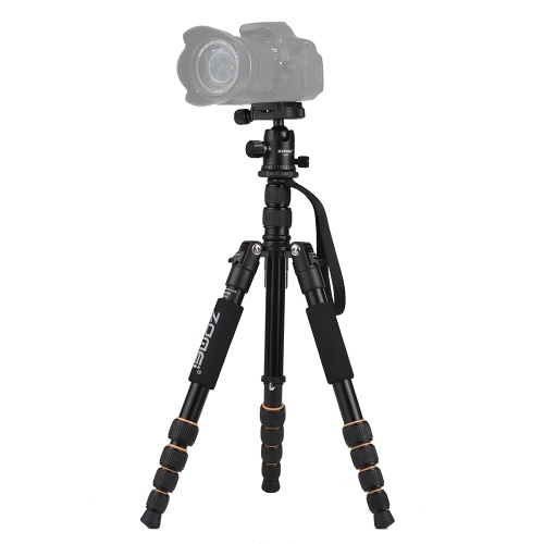 ZOMEI Q666 59inch Compact Travel Portable Aluminum Alloy Camera Tripod Monopod with Ball Head/ Quick Release Plate/ Carry Bag for Canon Nikon Sony DSLR