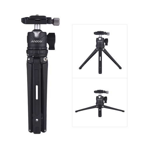 Andoer Table Desktop Mini Travel Tripod with Ball Head Quick Release Plate for Canon Nikon Sony DSLR for GoPro Hero 6/5/4/3+ for Yi Lite 4K for iPhone X 8 7 6s Plus Smartphone