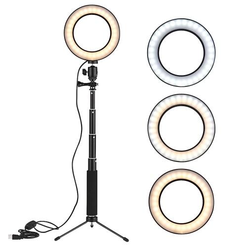 8-Zoll-Desktop-Mini-LED-Video-Ringlichtlampe Dimmbar 3 Beleuchtungsmodi USB-Betrieb mit Teleskop-Lichtstativ Mini-Desktop-Stativ für Network Broadcast Selfie Facial Make-up